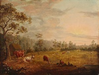 cattle grazing in a field with a figure resting in the foreground by charles towne