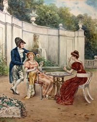 a game of cards in the garden by casimiro tomba