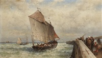 figures on a wharf with sailing vessels offshore by theodor alexander weber