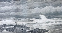a rocky coastal scene (+ a fisherman on the coast; pair) by james waltham curtis