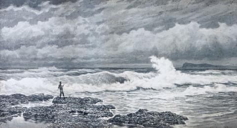 a rocky coastal scene a fisherman on the coast pair by james waltham curtis
