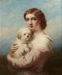 a young lady and her dog by james john hill