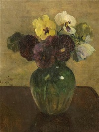 a still life with pansies in a vase by jacob simon hendrik kever