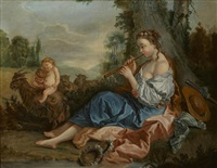 the muse euterpe in a pastoral landscape by françois boucher