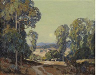a road through a eucalyptus grove by carl oscar borg