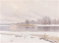 a winter lake scene by axel lindman