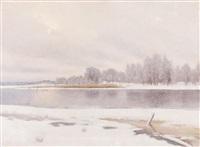 a winter lake scene by axel lindman