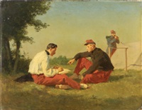 military figures in a camp by jean pezous