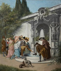 figures gathered around a garden fountain by albert françois fleury