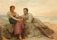 young lovers on a beach by charles edward perugini