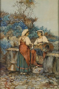 two maidens at a fountain by giuseppe aureli