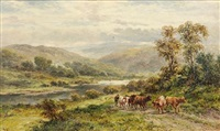 a pastoral landscape with cattle watering in a river (+ a herder and cattle on a path beside a river; pair) by f. allen
