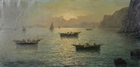 boats on the mediterranean sea at sunset by vincenzo d' auria