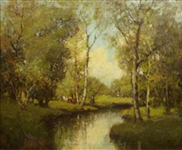 a river scene with grazing cattle by george thompson pritchard
