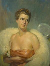 a portrait of a lady in a white fox capelet by christian von schneidau