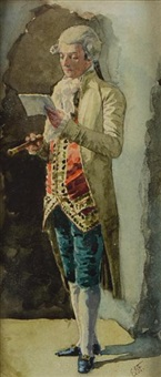 a gentleman reading a letter by benjamin eugène fichel