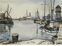 harbor scene by george booth post