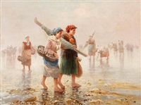 fisher folk on a beach by pierre testu
