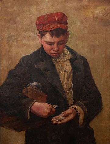 a young boy counting his money by john h henrici