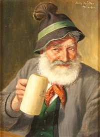 a monk with a tankard (+ another; pair) by fritz muller