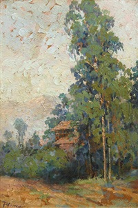 california landscape; untitled (landscape with cabin) (2 works) by florence upson young