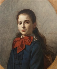 a portrait of a young lady wearing a red bow (+ 2 others; 3 works) by eugène accard