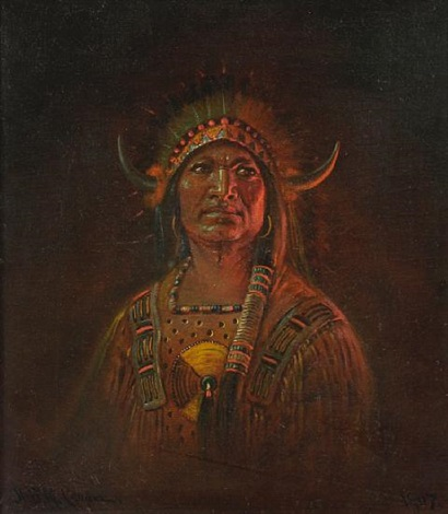 portrait of an indian chieftain by astley david middleton cooper