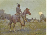 indian approaching camp by w. steve seltzer
