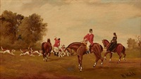 hunting scenes (4 works) by w. webb