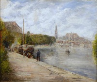 a french river scene with figures on the quay in the foreground by gabriel