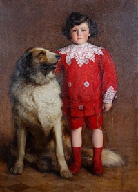 a portrait of a young boy and his dog by john macdonald aiken