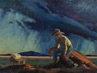 old prospector (+ desert scene, smllr; 2 works) by victor clyde forsythe