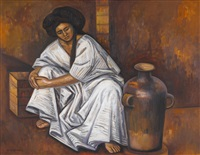 yalalteca con ánfora (girl with pottery) by raúl anguiano