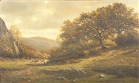an extensive wooded landscape with a figure and cattle on a path by félix de baerdemaeker
