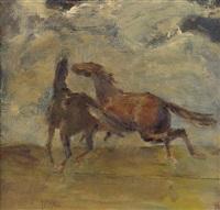galoppierende pferde auf der weide by fritz august pfuhle