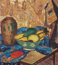 still life with a bowl of fruit by sara dora block alexander
