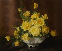 a still life with yellow roses by florence julia bach
