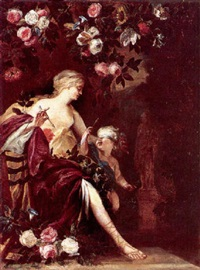 venus with a blindfold, cupid in a floral arbor by pieter van der werff