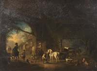 figures and horses in a stable by pieter wouwerman
