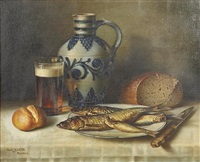 a still life with smoked fish, bread and a pint of beer by curt haase