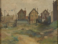 a grassy lot encircled by houses by alfred s. mira