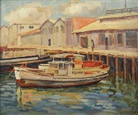 boats in harbor by florence upson young