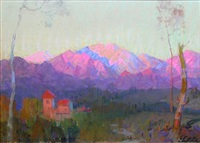 sunset on pasadena and the san gabriel mountains by theodore n. lukits