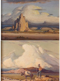 greasewood gus (+ monument valley; pair) by victor clyde forsythe