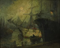 harbor scene under moonlit sky by george thompson pritchard