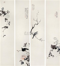 birds and flowers (4 works) by he jinhong