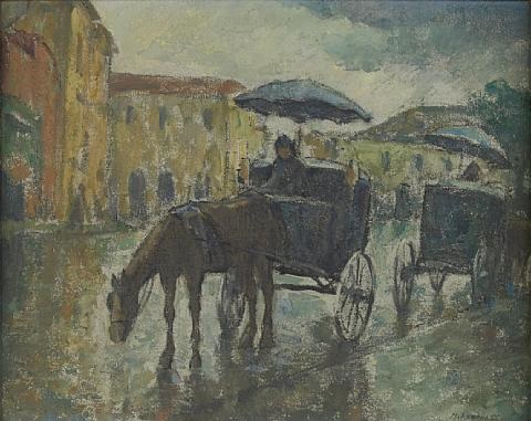horse and carriage on a road by mischa askenazy