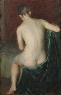seated nude, green velvet draperies by john koch