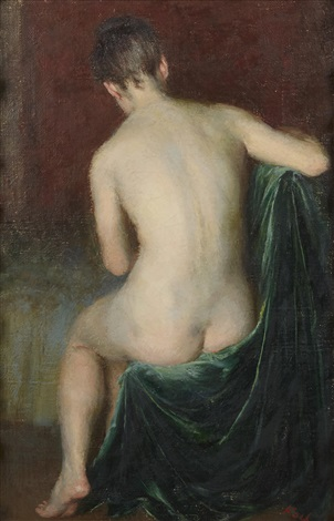 seated nude green velvet draperies by john koch