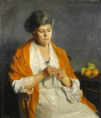 woman with her crochet by marguerite stuber pearson